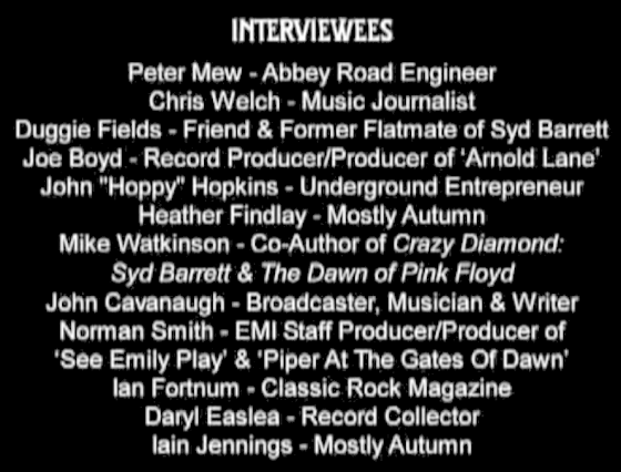 List of interviewees.