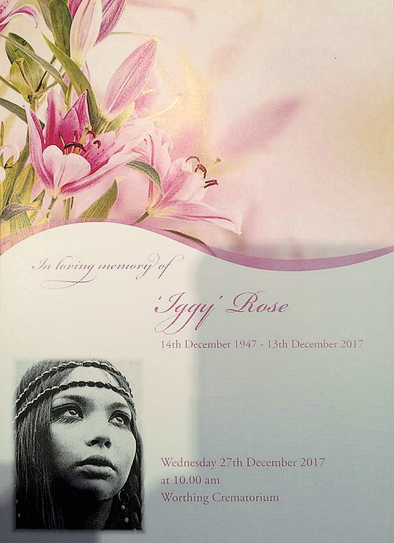 Iggy Rose Memorial Card