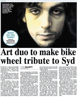 Barrett bike wheel tribute artwork announced at Corn Exchange, Cambridge.