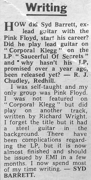 Syd Barrett answers a fan's question in Melody Maker of 7 June 1969.